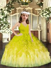 Fashion Tulle V-neck Sleeveless Zipper Ruffles Little Girls Pageant Gowns in Olive Green