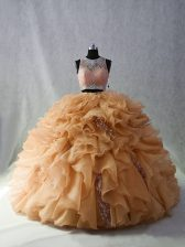 Sleeveless Beading and Ruffles and Sequins Zipper Quinceanera Gowns with Champagne Brush Train