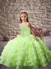 Sleeveless Beading and Ruffled Layers Lace Up Little Girls Pageant Dress Wholesale