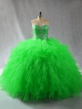Ball Gowns Sweetheart Sleeveless Tulle Floor Length Lace Up Beading and Ruffles Ball Gown Prom Dress