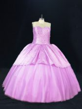 Floor Length Lilac Quinceanera Dresses Satin and Tulle Sleeveless Beading