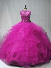 Sleeveless Beading and Ruffles Lace Up Quinceanera Dresses with Fuchsia Brush Train