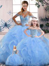 Floor Length Blue Sweet 16 Dresses Tulle Sleeveless Beading and Ruffles