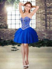 Inexpensive Royal Blue Sweetheart Lace Up Beading Evening Dress Sleeveless