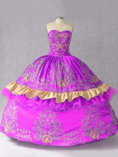 Sweet Purple Ball Gowns Embroidery and Bowknot Quinceanera Dresses Lace Up Satin and Organza Sleeveless Floor Length