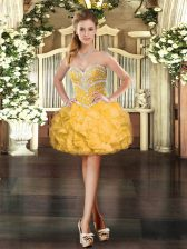Amazing Mini Length Gold Prom Gown Sweetheart Sleeveless Lace Up