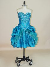 Shining Ball Gowns Teal Sweetheart Taffeta Sleeveless Mini Length Lace Up