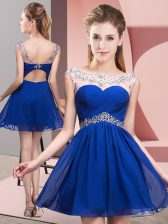 Scoop Sleeveless Backless Prom Evening Gown Royal Blue Taffeta