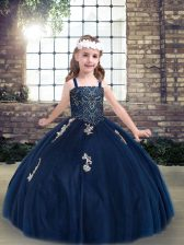 Sleeveless Appliques Lace Up Little Girls Pageant Gowns