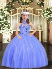Blue Sleeveless Floor Length Appliques Lace Up Pageant Dress Wholesale