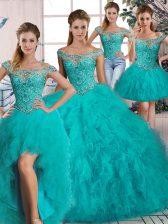 Fine Aqua Blue Lace Up Quinceanera Dresses Beading and Ruffles Long Sleeves Brush Train