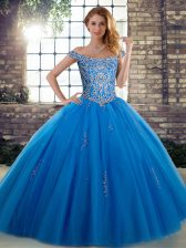 Sleeveless Floor Length Beading Lace Up Ball Gown Prom Dress with Blue