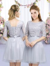 Admirable Lace and Belt Damas Dress Grey Lace Up Half Sleeves Mini Length
