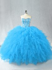 Top Selling Baby Blue Sleeveless Floor Length Beading and Ruffles Lace Up Vestidos de Quinceanera