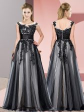 New Arrival Black Empire Beading and Lace Quinceanera Dama Dress Zipper Tulle Sleeveless Floor Length