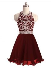 Graceful A-line Prom Evening Gown Burgundy Halter Top Sleeveless Mini Length Lace Up