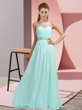 Sleeveless Floor Length Beading Backless Prom Dress with Light Blue