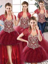 Edgy Sleeveless Tulle Floor Length Lace Up 15th Birthday Dress in Burgundy with Beading and Ruffles