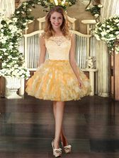 Organza Scoop Sleeveless Zipper Lace and Ruffles Prom Dress in Gold