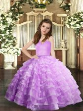 Sleeveless Floor Length Ruffled Layers Lace Up Child Pageant Dress with Lavender