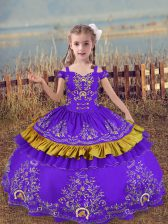 Floor Length Lace Up Pageant Dress Toddler Lavender for Wedding Party with Beading and Embroidery