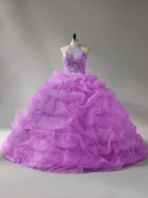 Inexpensive Organza Halter Top Sleeveless Court Train Lace Up Beading and Pick Ups Vestidos de Quinceanera in Lilac