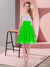 Low Price Green Empire Beading Dama Dress Side Zipper Chiffon Sleeveless Mini Length
