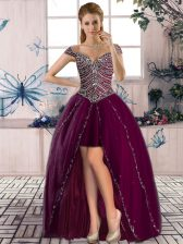 Luxurious Purple A-line Beading Prom Evening Gown Lace Up Tulle Sleeveless High Low