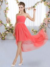 Fabulous Strapless Sleeveless Lace Up Quinceanera Court of Honor Dress Watermelon Red Chiffon