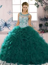 Peacock Green Ball Gowns Beading and Ruffles Sweet 16 Dress Lace Up Organza Sleeveless Floor Length