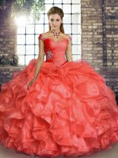 Off The Shoulder Sleeveless Organza Quince Ball Gowns Beading and Ruffles Lace Up