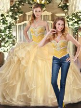 Custom Design Champagne Ball Gowns Organza Sweetheart Sleeveless Beading and Ruffles Floor Length Lace Up 15 Quinceanera Dress