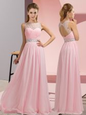 Exceptional Baby Pink Chiffon Backless Prom Evening Gown Sleeveless Floor Length Beading