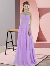 Noble Lavender Empire Scoop Sleeveless Chiffon Floor Length Zipper Beading Homecoming Dress