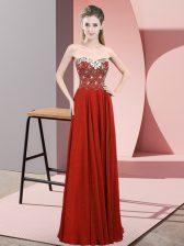 Rust Red Sleeveless Beading Floor Length Dress for Prom