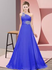 New Style Purple One Shoulder Neckline Beading and Ruching Prom Evening Gown Sleeveless Lace Up
