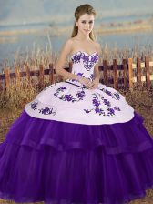 New Style Sweetheart Sleeveless Tulle Quinceanera Dresses Embroidery and Bowknot Lace Up