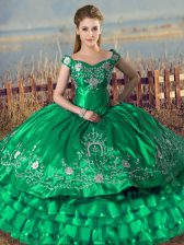 Customized Floor Length Green Sweet 16 Dress Off The Shoulder Sleeveless Lace Up