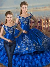 Pretty Sleeveless Lace Up Floor Length Embroidery and Ruffled Layers Quinceanera Dresses