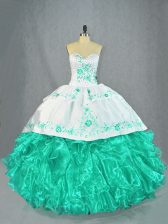 New Arrival Turquoise Lace Up Quinceanera Dress Embroidery and Ruffles Sleeveless Floor Length