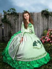 Sleeveless Sweep Train Embroidery and Ruffles Lace Up Kids Pageant Dress