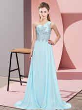On Sale Light Blue Empire Beading Prom Party Dress Side Zipper Chiffon Sleeveless Floor Length