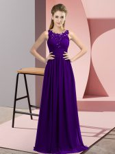 Cute Purple Zipper Scoop Beading and Appliques Court Dresses for Sweet 16 Chiffon Sleeveless