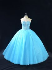 Graceful Sleeveless Floor Length Beading Lace Up Quince Ball Gowns with Baby Blue