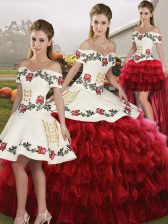 Sleeveless Lace Up Floor Length Embroidery and Ruffled Layers Vestidos de Quinceanera