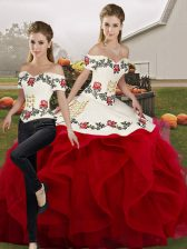 Shining White And Red Sleeveless Floor Length Embroidery and Ruffles Lace Up Sweet 16 Quinceanera Dress
