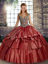 Sophisticated Rust Red Ball Gowns Straps Sleeveless Taffeta Floor Length Lace Up Beading and Ruffled Layers Quinceanera Dresses
