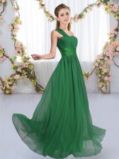 Glorious Chiffon One Shoulder Sleeveless Lace Up Ruching Quinceanera Court of Honor Dress in Dark Green