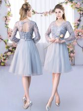 New Arrival Tulle V-neck Long Sleeves Lace Up Lace and Belt Court Dresses for Sweet 16 in Grey