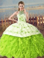 Artistic Halter Top Lace Up Embroidery and Ruffles Quinceanera Gowns Court Train Sleeveless